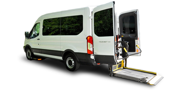 parked white van with platform lowered