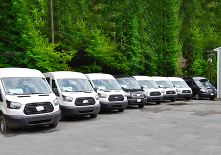 Fleet of white and black parked vans